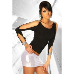 Party-Shirt mit Cut Outs schwarz - AT11917 Produktbild
