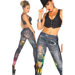 auffällige Jeans-Print-Leggings - AT12047